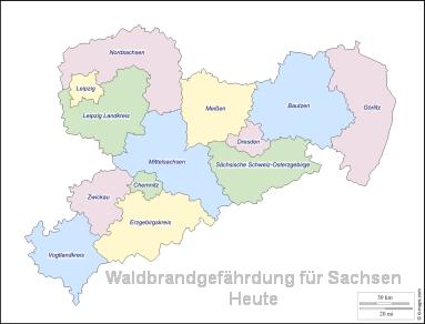 Waldbrandgefährdung für Sachsen, Heute